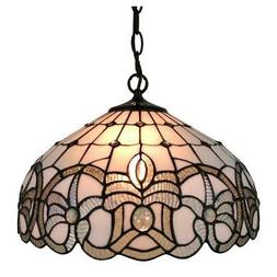 Amora Lighting 16 in 2-Light White Tiffany Style Pendant