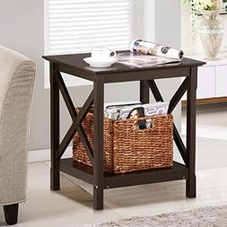 Yaheetech 2 Tier X-Design Wood Nightstand Sofa End Table wit