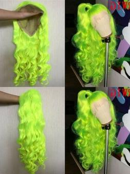 """24"""" Full Head Long Curly Wavy Lace Front Wig Neon Yellow Syn"""