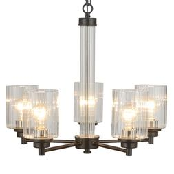 3/5 Light Chandelier Lighting With Clear Ribbed Glass Shade