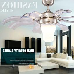 "42"" Ceiling Fan Light Remote LED Chandelier Lamp Lights Fold"