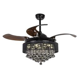 "46"" Modern Remote Chandelier Fan Retractable 4-Blade Crystal"