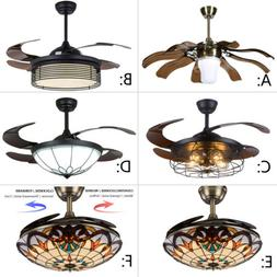 "Remote Ceiling Fan Light 42"" LED Chandeliers Lamp Reverse Ti"