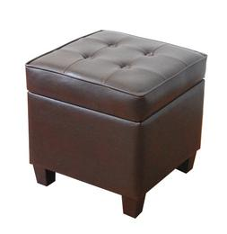 HomePop Leatherette Tufted Square Storage Ottoman with Hinge
