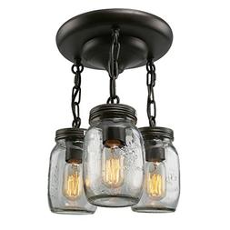 LNC A02981 Glass Pendant 3 Mason Jar Semi Flush Mount Close
