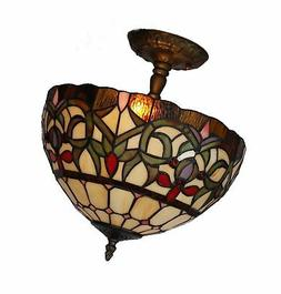 Amora Lighting AM1081HL12 Tiffany Style Stained Glass Ceilin