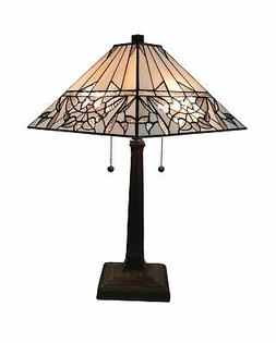 Amora Lighting AM308TL14 Tiffany Style White Mission Table L