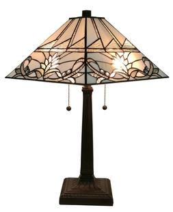 Amora Lighting AM312TL14 Tiffany Style White Mission Table L