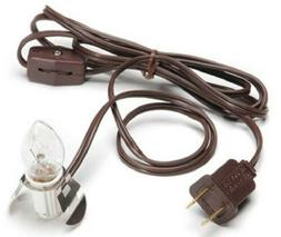 Brown Clip Lamp Light 6' Electric Accessory Cord with Socket