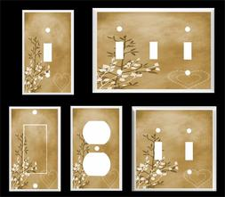 BROWN HEART AND LEAVES CONTEMPORARY DECOR  LIGHT SWITCH COVE