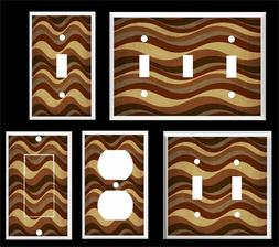 BROWN HORIZONTAL WAVY LINES  LIGHT SWITCH COVER PLATE