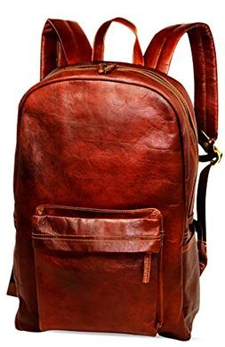 "18"" Brown Leather Backpack Vintage Rucksack Laptop Bag Water"