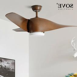 SOVE Brown Vintage Ceiling Fan With Lights Remote Control Ce