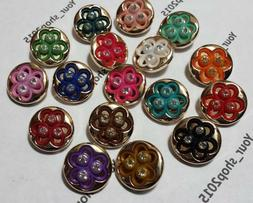 BUTTONS ASSORTED RHINESTONE FLOWER ART CRAFT SEWING CARD SCR