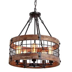 Anmytek C0019 Round Wooden Chandelier Ceiling Lights, Brown