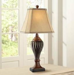 Carved Two-Tone Brown Table Lamp