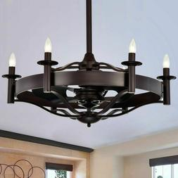 Ceiling Fan with Lights Rich Brown Chandelier Light Kit Remo