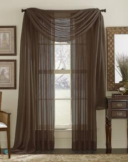 HLC.ME Chocolate Brown Sheer Voile Window Curtain Scarf - Va