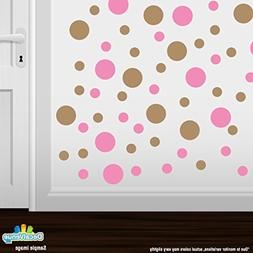 Set of 30 - Pink/Light Brown Circles Polka Dots Vinyl Wall G