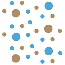 Set of 30 - Ice Blue/Light Brown Circles Polka Dots Vinyl Wa