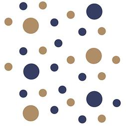 Set of 30 - Navy Blue/Light Brown Circles Polka Dots Vinyl W