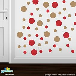 Set of 30 - Red/Light Brown Circles Polka Dots Vinyl Wall Gr