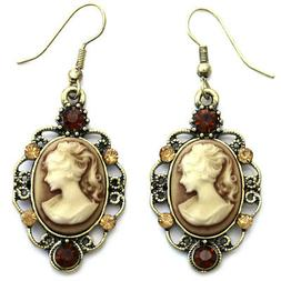 Classic Antique Design Dark Crystals Light Brown Cameo Hoop