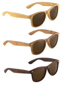 CLASSIC FAUX BAMBOO WOOD PRINT SQUARE SUNGLASSES RETRO CASUA