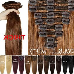 Elegant Thick Double Wefted Clip In Remy Human Hair Extensio