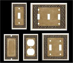 GREEK KEY BROWN TONES LIGHT SWITCH COVER PLATE K1  Home Deco