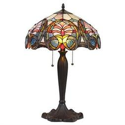 "HAZEL Tiffany-style 2 Light Victorian Table Lamp 16"" Shade"