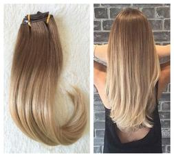 22 Inches Full Head Ombre Dip Dyed Straight Clip-in Hair Ext
