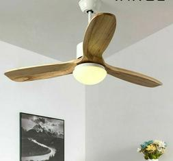 Indoor Ceiling Fans Lights Wooden 3 Blades Coffee Brown And