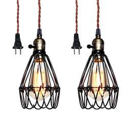 Pauwer Industrial Metal Cage Pedant Light Plug in Pendant La