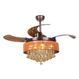 Modern Chandelier Ceiling Fan Light LED Remote Control Retra