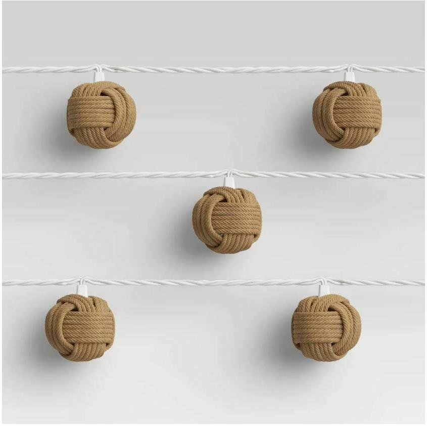 Threshold 10ct Incandescent Woven String Lights Brown