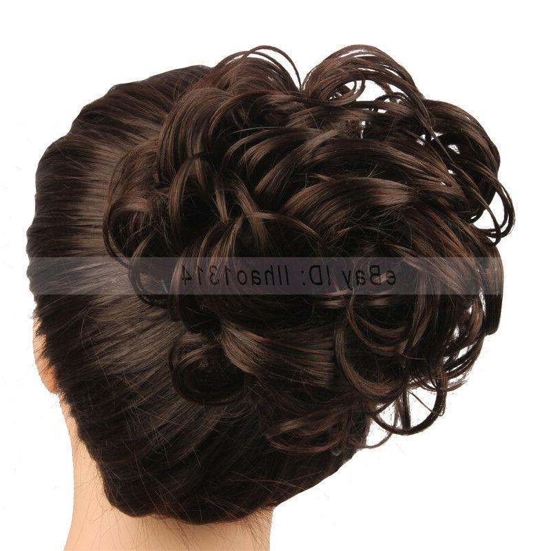 2-6 Delivery Hair Buns Curly Drawstring Hair Extensions