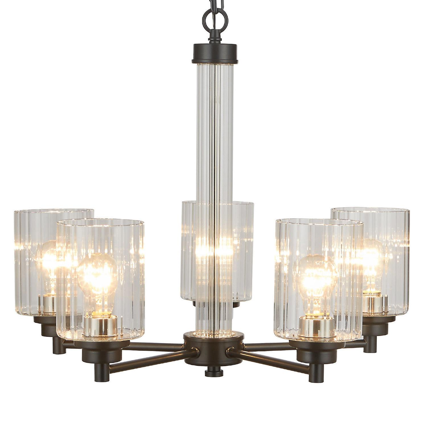 3 5 light chandelier lighting with clear