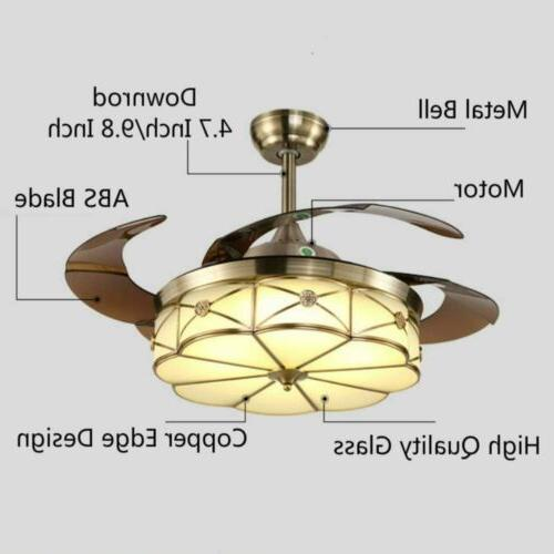 "42"" Ceiling Fan Invisable Crystal Lighting Remote Chandelier"