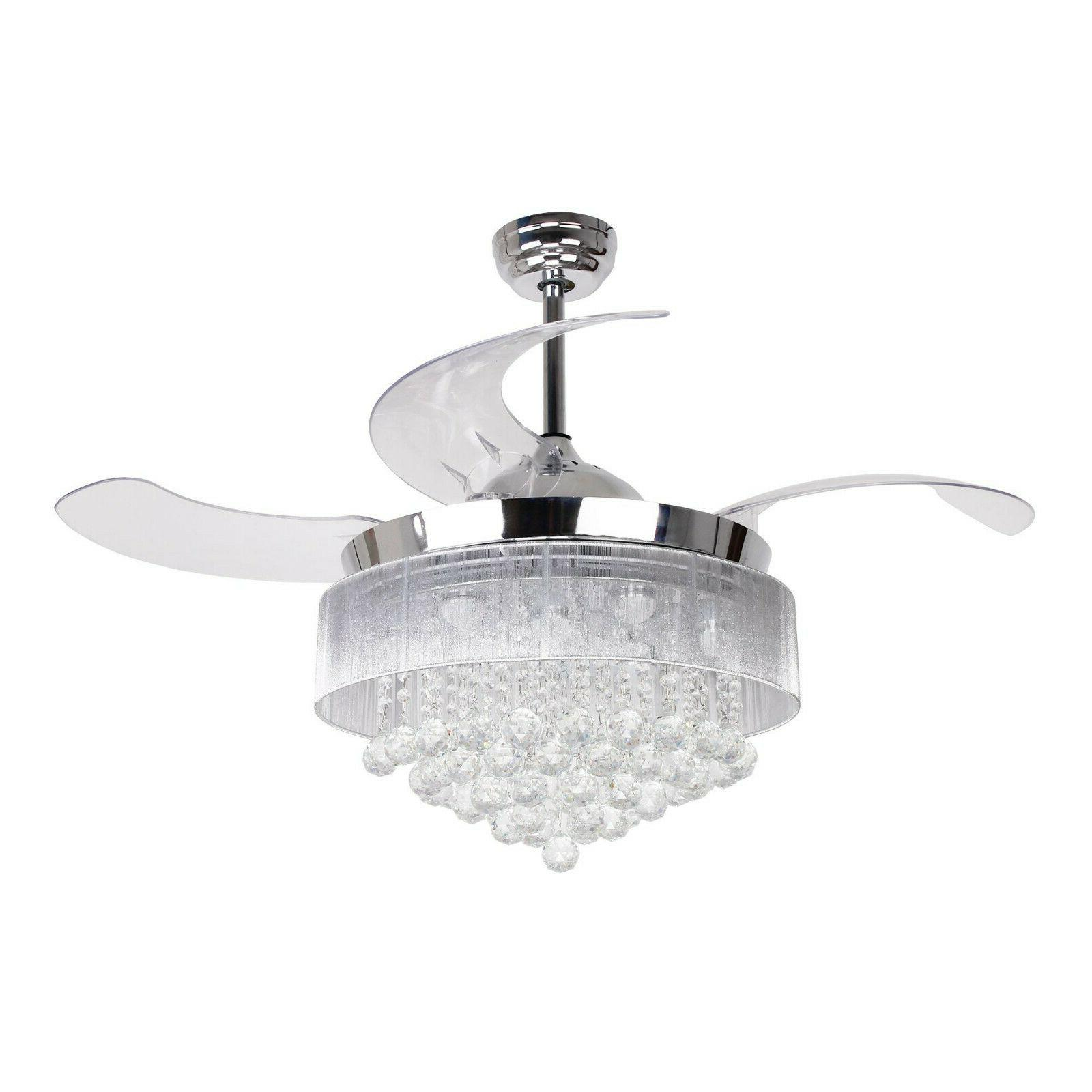 46 ceiling fan with lights crystal chandelier