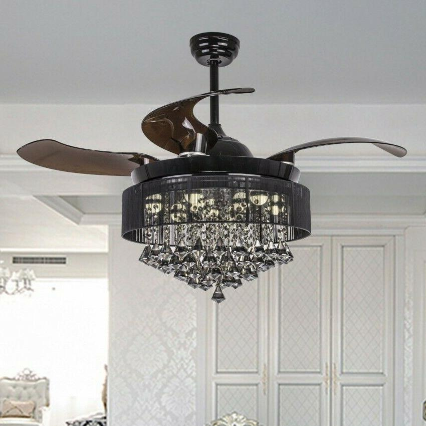 "46"" Crystal Ceiling Fan LED Light Remote Control Retractable"