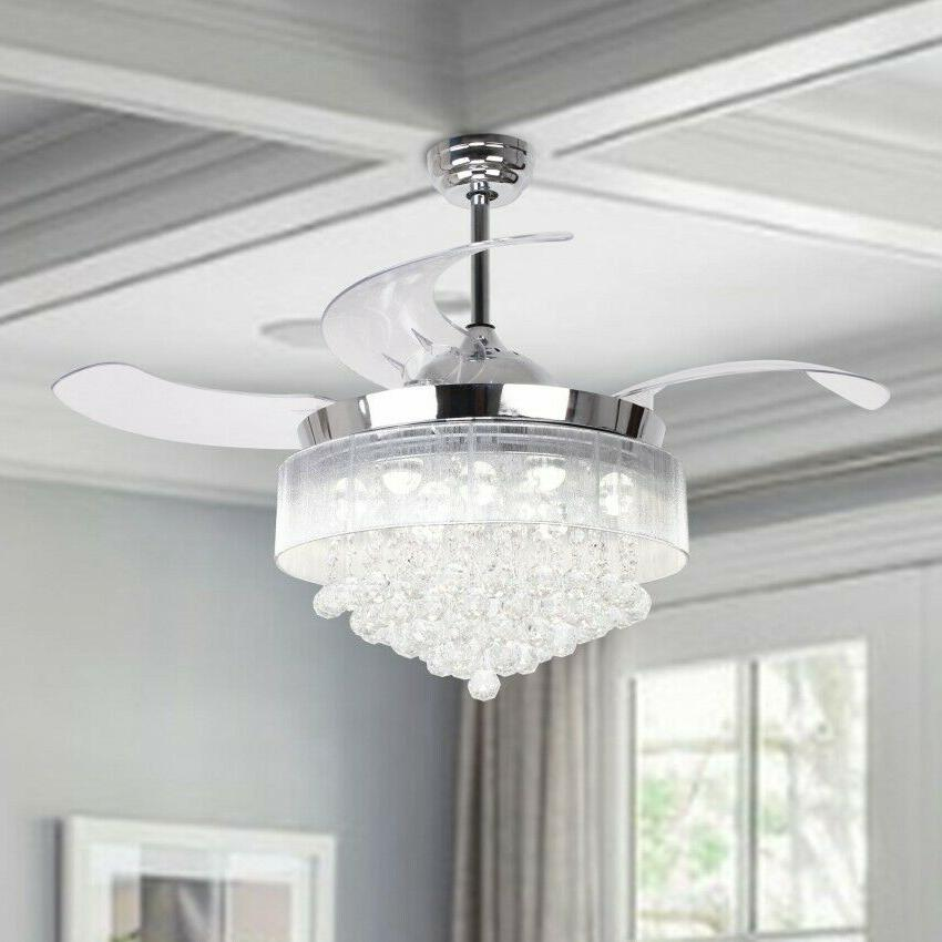 "46"" Crystal Ceiling Lights Remote Retractable 4-Blade"