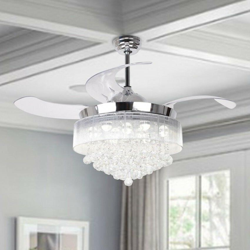 46 retractable crystal led ceiling fan lights