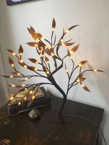 48 led brown leaf tree lamp night