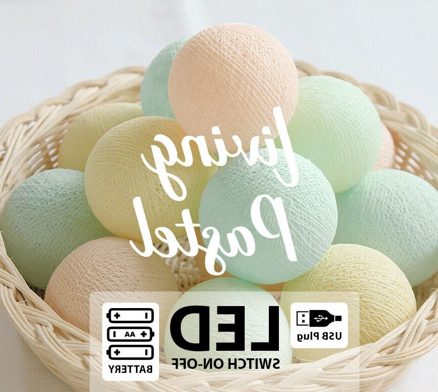 4m baby pastel cotton ball led battery