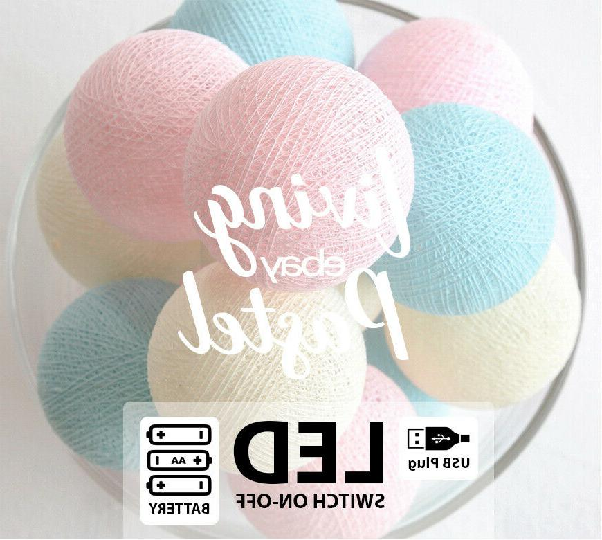 4m pastel and blue cotton ball led