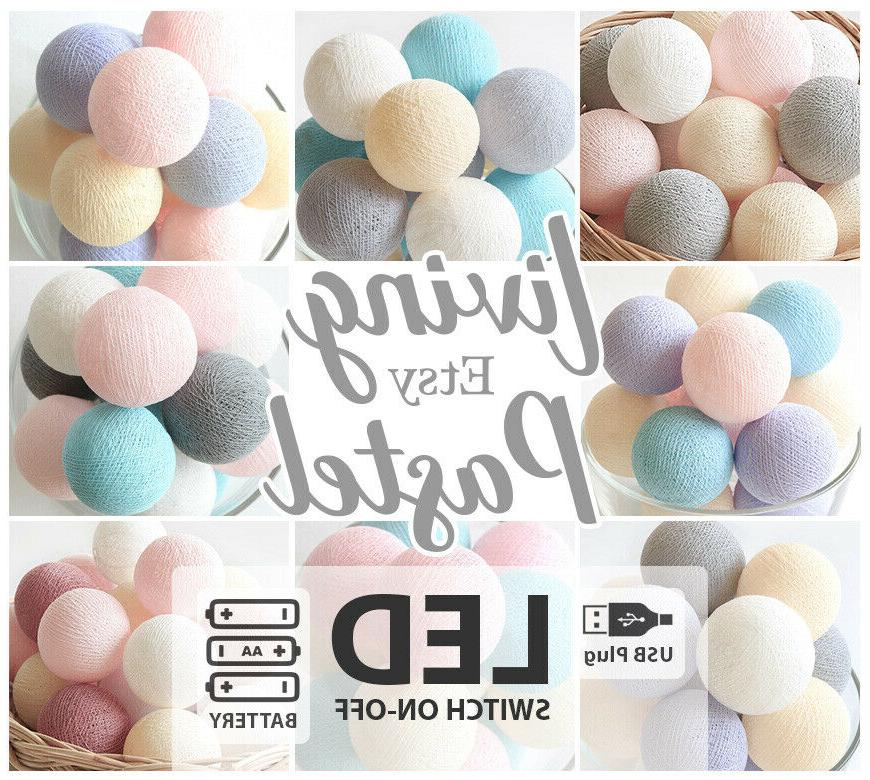Kid/'s room 4M BABY PASTEL COTTON BALL LED BATTERY STRING LIGHTS Baby room
