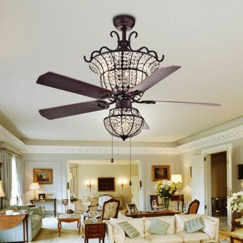 "52""Luxury Tiffany 4-Lights Ceiling Fan Crystal CFL-8154BR Ch"