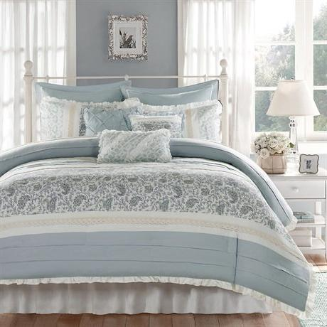 Madison Park Size Comforter Bed A - Aqua Shabby Chic 9 Pieces Bedding 100% Percale Comforters