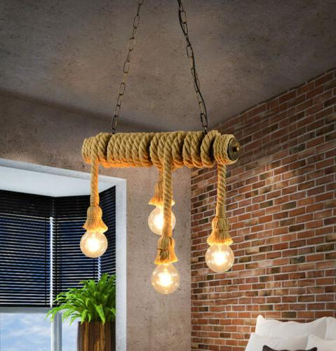 Brown Cafe Retro Pipe Chandelier Pendent Lamp Fixtures